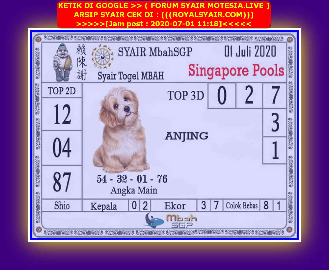 Kode syair Singapore Rabu 1 Juli 2020 136