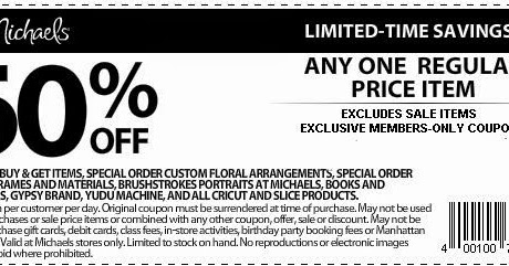Michaels Printable Coupons May 2018