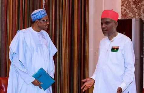 Image result for pictures of buhari and nnamdi kanu