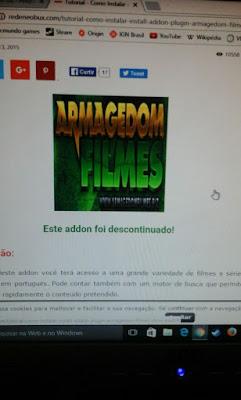 ADDON ARMAGEDON FILMES FOI DESATIVADO - 19/09/2016