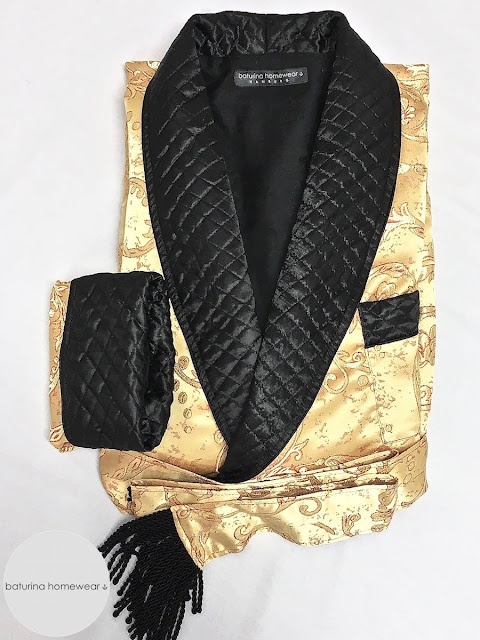 Men's silk dressing gown robe smoking jacket quilted