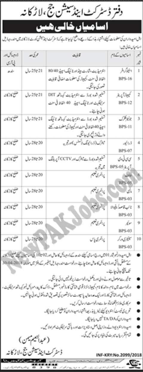 Govt Vacancies in Larkana  District and Session Judge,