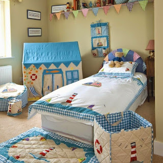 zestful kids bedroom with nautical theme bedding and beige waste bin with blue plaid plus blue mat