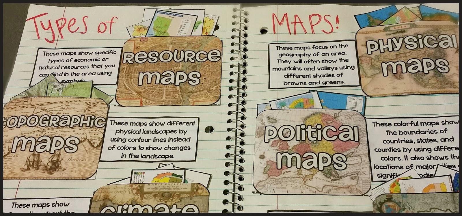 Teel's Treats: Types of Maps Interactive Notebook Activity!!