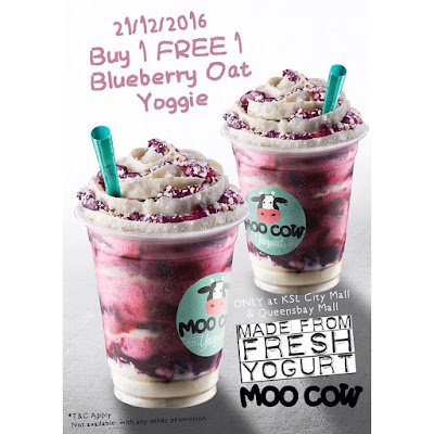 Moo Cow Frozen Yogurt Blueberry Oatmeal Yoggie Buy 1 Free 1 Promo