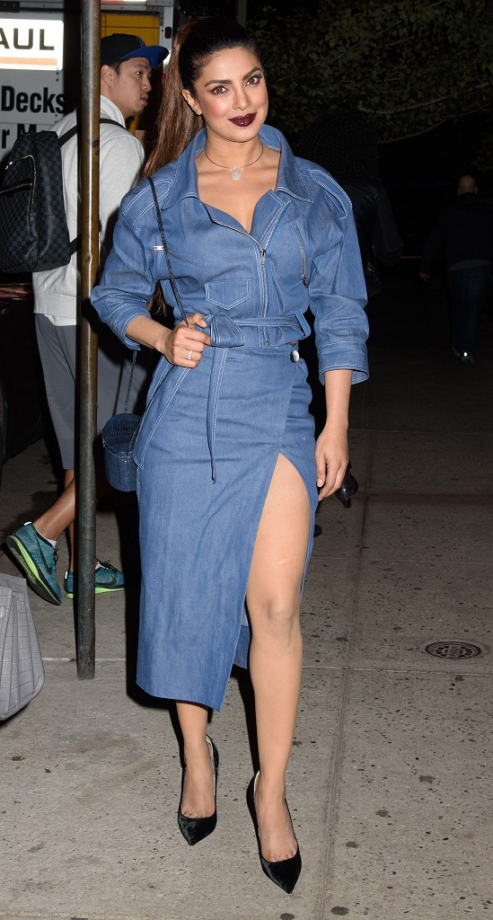 Actress Priyanka Chopra Long Legs Stills In Blue Dress