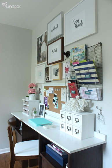 Home office gallery wall with free printable artwork and gallery wall inspiration.