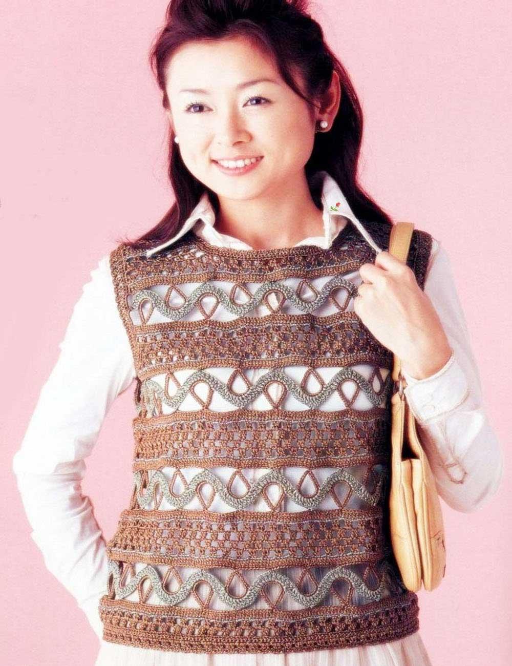 pull jersey chaleco con puntos tejidos diferentes a crochet