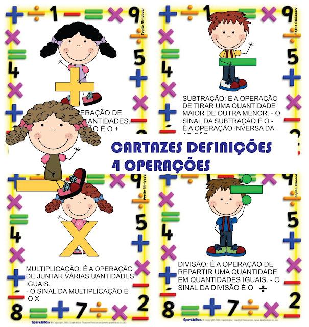 Cartazes Ilustrados Definições 4 Operações Matemática