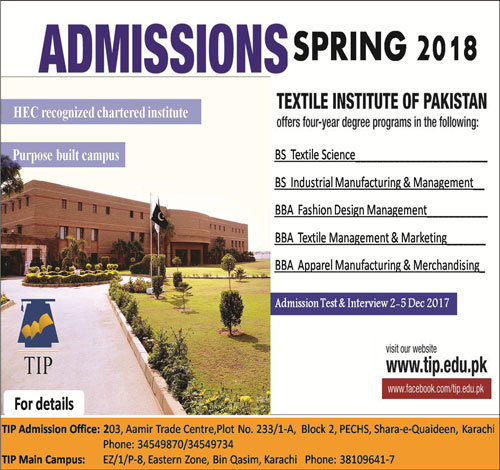 Admissions Open in Textile Institute of Pakistan - Karachi