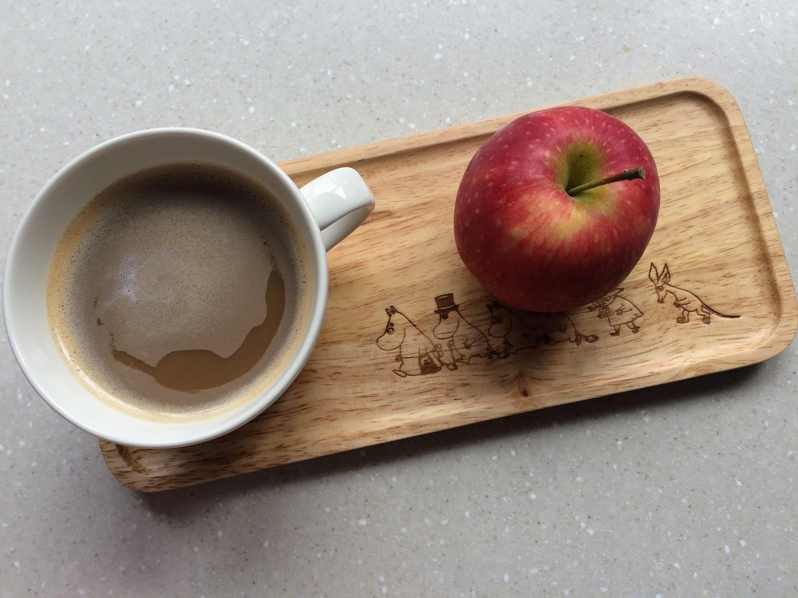 coffee and apple on moomin tray