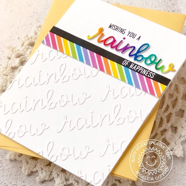 Sunny Studio Stamps: Over The Rainbow Rainbow Word Die Rainbow of Happiness Card by Angelica Conrad