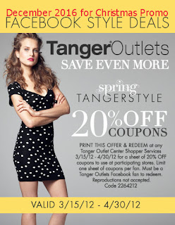 Tanger Outlet coupons for december 2016