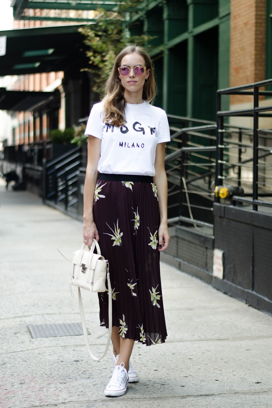 msgm white t-shirt pleated midi skirt converse trainers