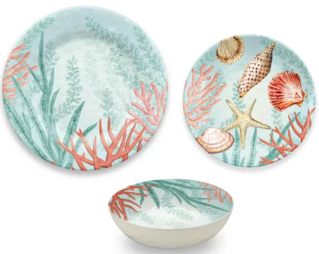 Coral Reef Dinnerware Set Melamine