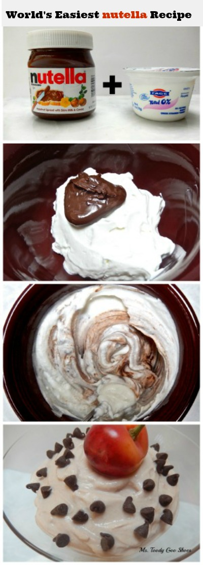 #Nutella + Plain Yogurt = Nutella Yogurt! A very satisfying snack --- Ms. Toody Goo Shoes