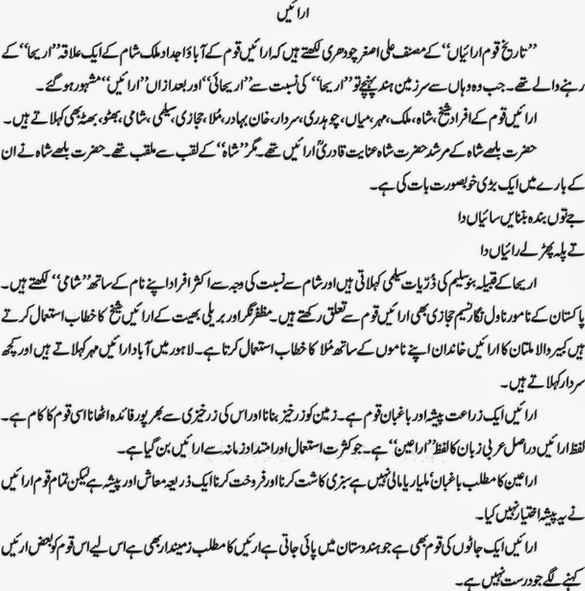 Arain History In Urdu Arain in Gulshan-e-Hadeed - Gulshan-e