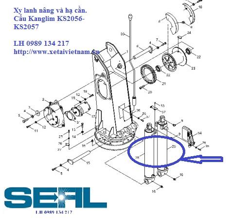 Xy lanh nâng hạ cần lắp cho cẩu Kanglim KS2056