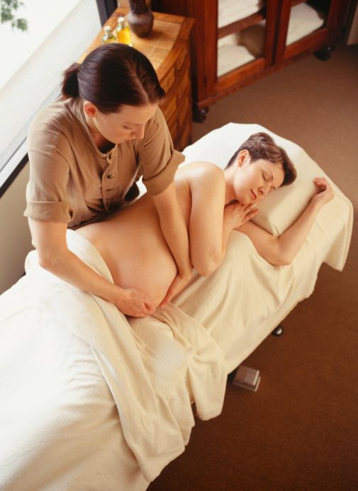Pregnancy massage side-lying position