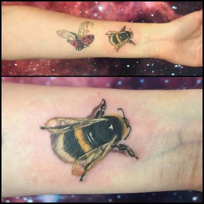 ladybug and bee tattoo