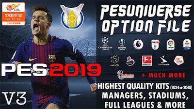 PES 2019 PC/PS4 PES Universe Option File v3 Season 2018/2019