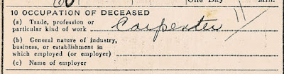 Occupation of Deceased: Carpenter. William A. Dixon, death certificate No. 611, Elizabeth, NJ. NJ State Archives, Trenton.