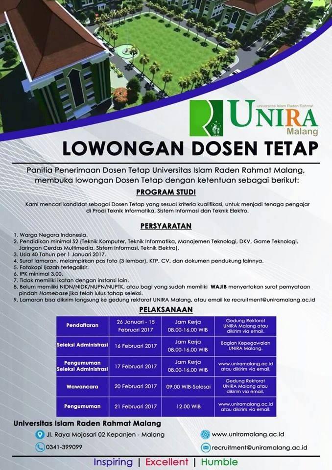 Lowongan Dosen Tetap Universitas Raden Rahmat (UNIRA