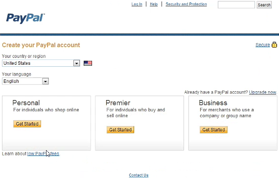 PayPal Account Settings Screen