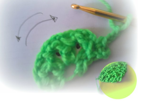 Medio circulo trozo de tarta a crochet