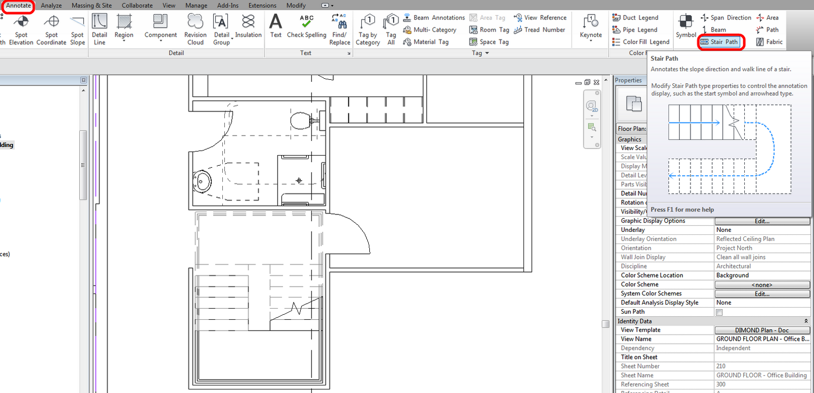 Stair Path Annotations In Revit