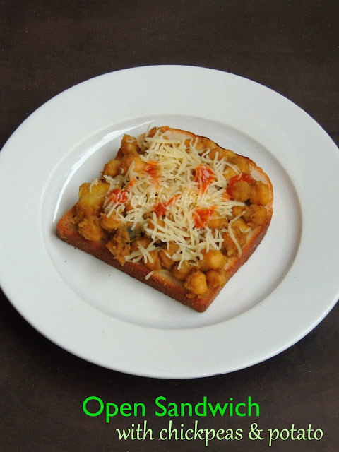 Chickpeas,potato open sandwich