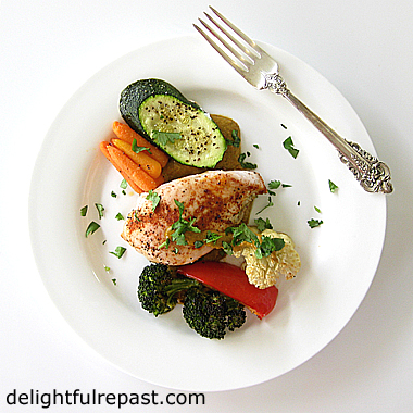 Sheet Pan Chicken Dinner with Romesco Sauce / www.delightfulrepast.com