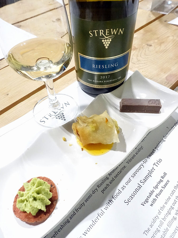Strewn Riesling 2017 (88+ pts) with vegetable spring roll, edamame spread on a beet cracker, & orange KitKat