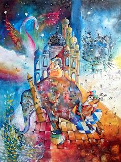 https://www.latelierdannapia.com/ L'elefante indiano in equilibrio tela 60 x 80, Taj Mahal tigre pavone araba fenice stelle giullare, L'éléphant indien en équilibre, paon Didier Delamonica Chagall