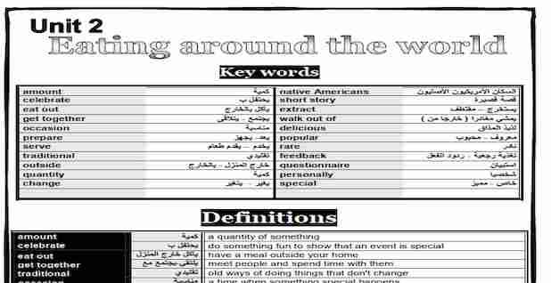 مذكرة الوحدة الثانية لغة انجليزية للصف الثاني الثانوي ترم اول للدكتور محمود فتحى