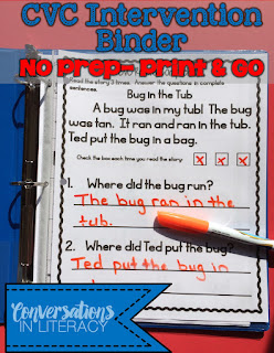 cvc word work intervention binder