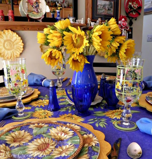 Sunny Yellow and Blue Tablescape