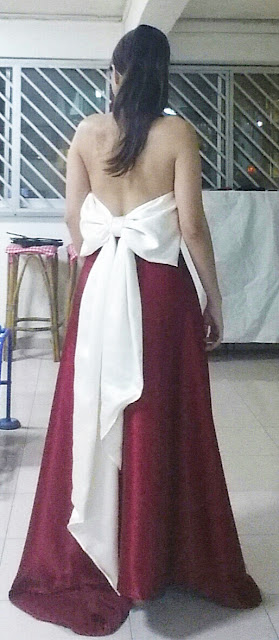 Another back view of the self designed and create evening gown