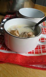 zupa , kurczak, pieczarki