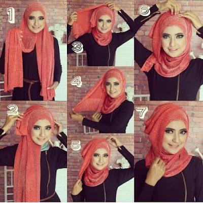 Tutorial Hijab Turban Pashmina Modern Gaya #12 Drappery Menyamping Leher Tertutupi