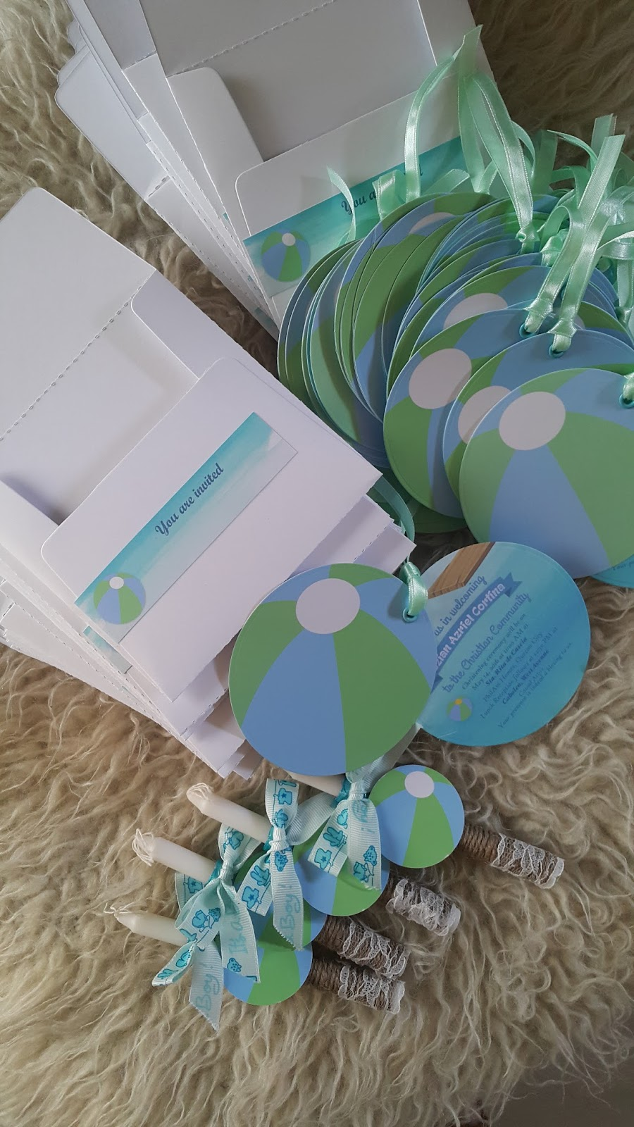 beach ball themed baptismal invitations and candles kiddie invitations