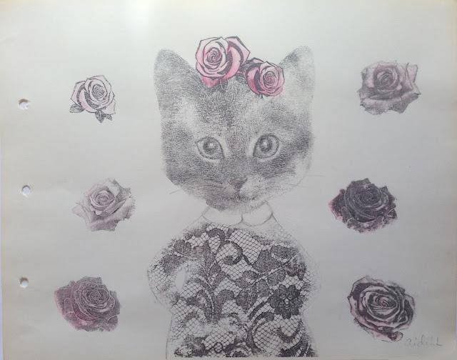 Aide Leit roosiline Kiisu segatehnika paberil näitus haapsalu pitsikeskuses