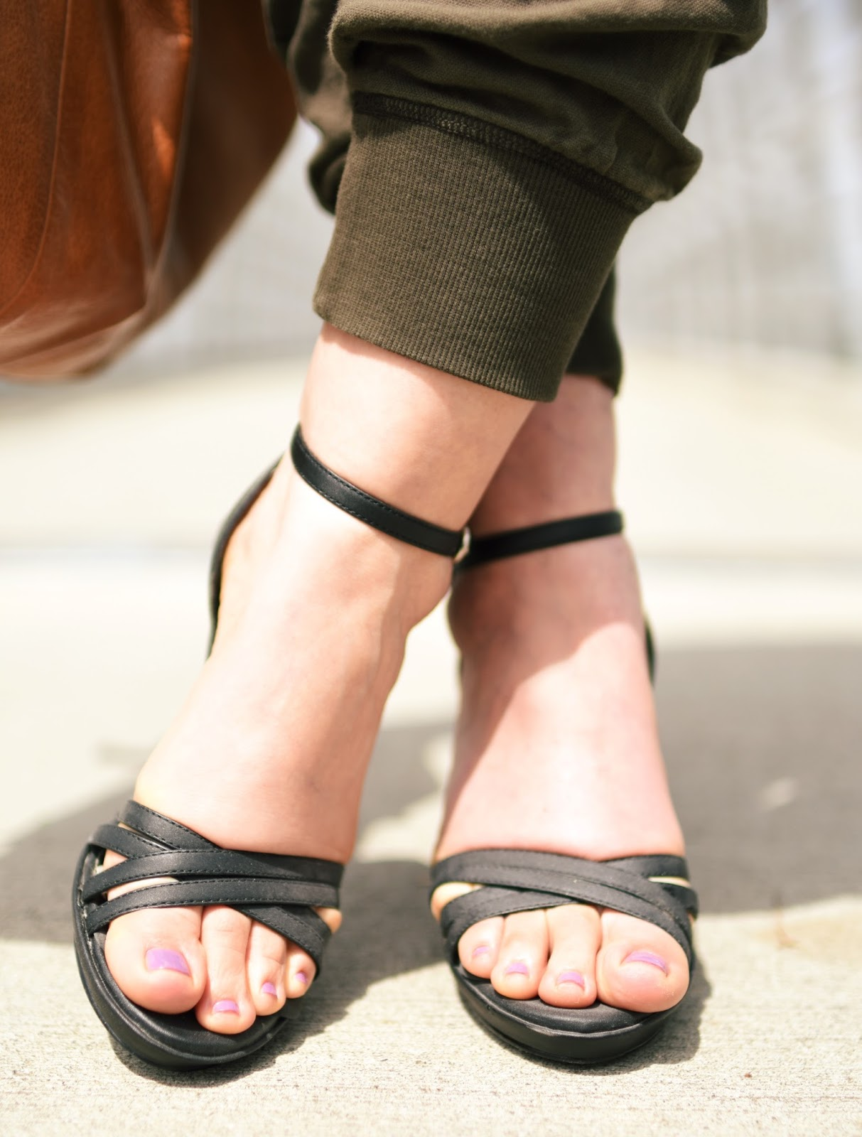 slouchy cargo pants, ankle-strap sandals