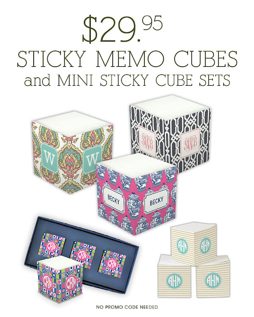 Personalized Sticky Note Cubes from Boatman Geller make perfect Teacher Gifts