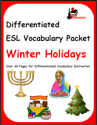 Free, differentiated winter holiday packet on Christmas, Hanukkah, Kwanza and Diwali for ESL or ELL students from Raki's Rad Resources.
