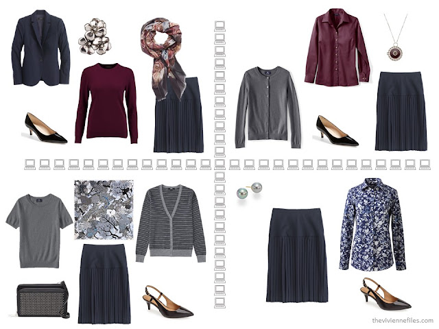 Four business outfits based on a navy pleated skirt, from a capsule wardrobe of navy, grey and burgundy.