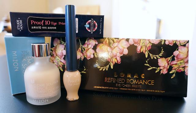 Mizon Pink Spot Powder, Etude House Waterproof Eye Primer, Lorac Refined Romance Eyeshadow Palette