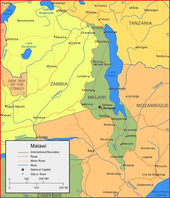 Gambar Peta Malawi