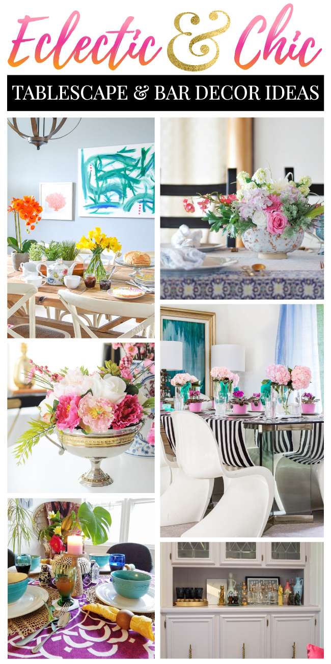 Eclectic, chic and colorful tablescape and bar cart decor ideas from talented home decor bloggers.