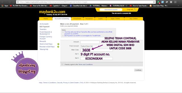 Cara Buat Pembayaran Bil Internet P1 Menggunakan Maybank2u